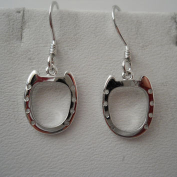 Sterling Silver 925 Horseshoe Earrings Dangle Drop CI 925 Ear Rings