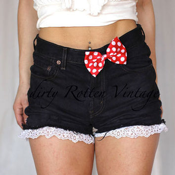 "dirty Rotten Vintage + disney Bound ""Mrs. Mouse"" Minnie Mouse Inspired Bow Cutoff Denim Shorts"