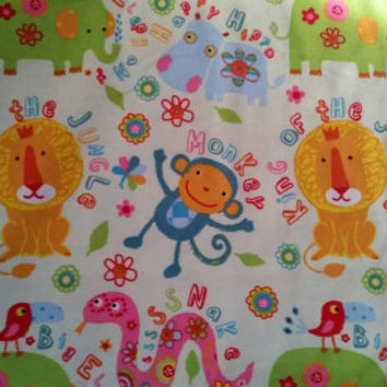 Cotton kids Flannel fabric with hippos lions snake elephants monkey quilters print crafting material by the yard BTY animal flannel for baby