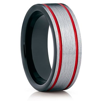 Red Tungsten Wedding Band - Black Ring - Tungsten Wedding Ring Unique