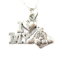 I Love My Puppy Dog Head Charm Necklace in Silver | MADE IN USA