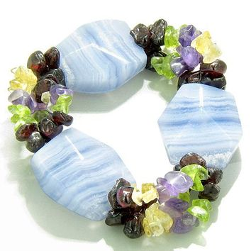 Amulet Large Faceted Blue Lace Agate Crystals Garnet Peridot Citrine Amethyst Good Luck Bracelet