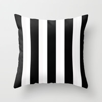 Large Stripes Black and White Throw Pillow by mysticdragon