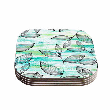 "Jessica Wilde ""Tropical Leaf Garden"" Green Nature Coasters (Set of 4)"