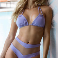 Ms. Split Bikini Solid Color Mesh Explosion Swimsuit