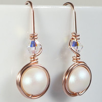 Rose Gold White Pearlescent Earings, Pearl Drop Earrings, Pink Gold Swarovski Jewelry, Valentines Gift for Her