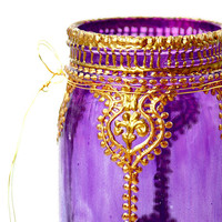 Hand Painted Mason Jar Lantern, Violet Glass with Gold Accents