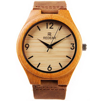 REDEAR Men Wood Quartz Watch Top Brand Leather Quartz-Watch Retro Mens Wristwatches Male  Clock Bamboo Wooden Watches