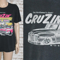 90s Graphic Tee Cruzin Magazine Hot Rod Classic Cars 50s 60s Distressed Tshirt mens L Hipster punk grunge Greaser Rockbilly Black Neon