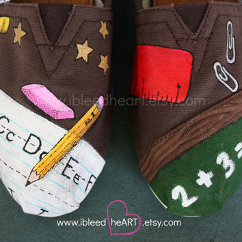 Custom Painted TOMS Shoes School Teacher Supplies Design for Adults