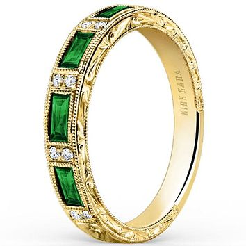 "Kirk Kara ""Charlotte"" Baguette Cut Green Tsavorite Diamond Wedding Band"
