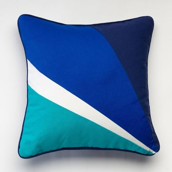 Happy Chic by Jonathan Adler Zoe Pieced Throw Pillow (Blue)
