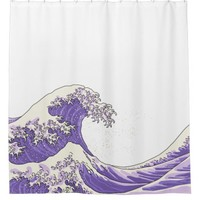 Great wave - purple shower curtain