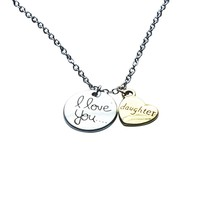 Daughter I Love You to the Moon Jewelry Pendant Gift Card Heart Necklace 18 Inch