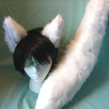 Cosplay White Fox or Wolf Ear and Tail Set Halloween Anime Fursuit Kitsune