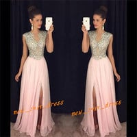 2016 Sparkling Beads Formal Evening Dress Ball Party Prom Pageant Celebrity Gown