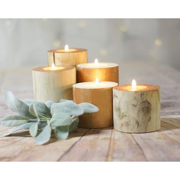 Copper Top Log candle Holders