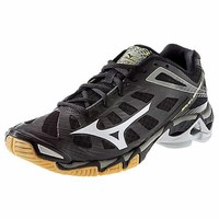 Mizuno's Black and Silver Wave Lightning RX3 Elite Women's Volleyball Shoe