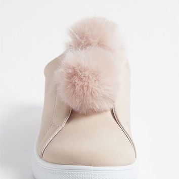 Faux Leather Low-Top Pom Pom Sneakers