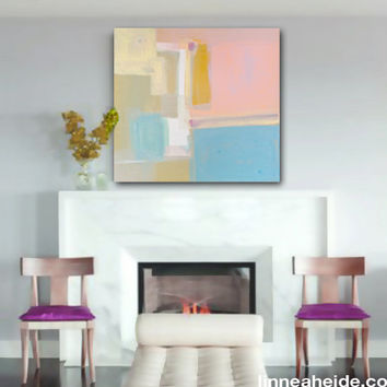 acrylic abstract painting - acrylic on canvas - abstract expressionism - southwest - pastel - modern art