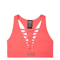 Ultimate Lace-Up Plunge Sports Bra - PINK - Victoria's Secret
