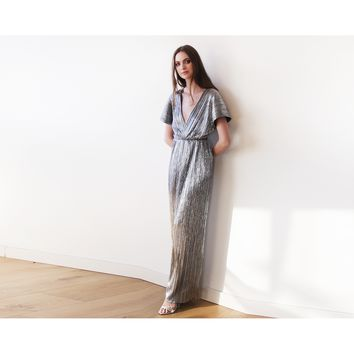 Silver glamorous bat-sleeve pleated maxi dress 1065