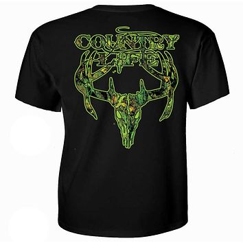 Sale Country Life Outfitters Black & Green Camo Realtree Deer Skull Head Hunt Vintage Unisex Bright T Shirt