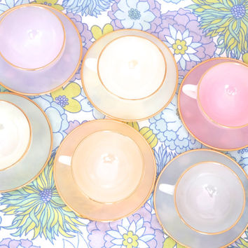 Arcopal Tea Set, Opalescent Tea Set, Arcopal Cups and Saucers, Harlequin, Pastel Tea Set, French Tea set, Arcopal Glassware, French Arcopal