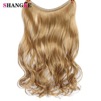 SHANGKE 22inch Fish Line Hairpiece Invisible Wire No Clips in Hair Extensions Secret Silky Curly Real Natural Synthetic
