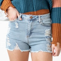 Ripped Light Washed Jean Shorts