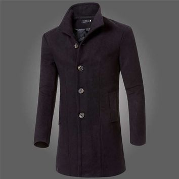 Mens Wool Blends Jacket Slim Fit Warm Solid Trench Casual Coat Long Single Breasted Winter Overcoat 0870