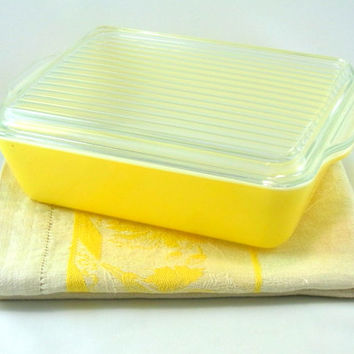 Vintage Pyrex Primary Yellow Covered Refrigerator Dish