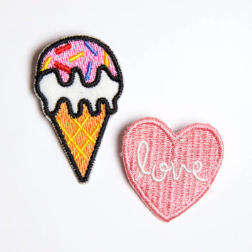 Love and Ice Cream Patch Pin Set