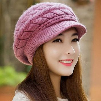 LMFUNT Winter Women Hat Warm Knitted Crochet Slouch Baggy Beret Beanie Hat Cap for women bonnet femme Y1