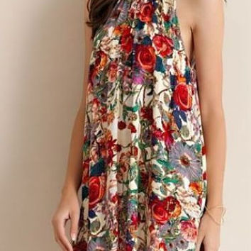 Red Roses Floral Garden Dress - Entro