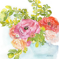 Ranunculus Watercolor Painting - 11 x 14 - Giclee Print - Floral Painting - Flower