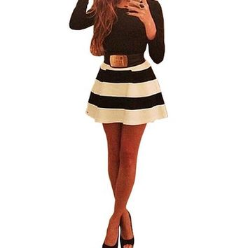 Womens Long Sleeve Black White Stripes Bodycon Swing Skater Party Short Dress
