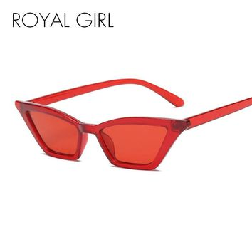 ROYAL GIRL Vintage Sunglasses Women Cat Eye Luxury Brand Designer Sun Glasses Retro Small Red ladies Sunglass Black Eyewear oculos ss958