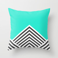 Minty Fresh Chevron Throw Pillow by Zeke Tucker