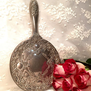 Vintage Heavy Silver Plated Vanity Hand Held Mirror Bedroom Decor Vintage Home