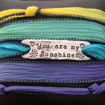 """D2E silk yoga wrap bracelet with hand stamped """"You are my Sunshine"""", with magnetic clasp"""