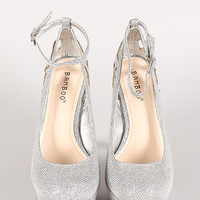 Bamboo Ericka-38 Glitter Cut Out Ankle Strap Platform Pump