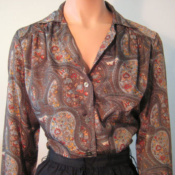 Vintage Blouse Brown Paisley Long Sleeve by VintageRenude on Etsy