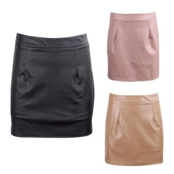 Leather Skirts High Waist Sexy Vintage A-Line Mini Skirt
