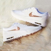 Nike Air Max Thea Diamond Hook Shining Sequin Hook Women Men Running Sneakers B-CSXY White/gold hook
