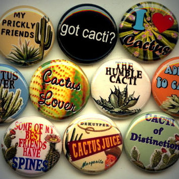 "CACTUS LOVER I love Cacti Succulent Plant 10 Pinback 1"" Buttons Badges Pins"
