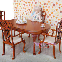 1:6 Scale Barbie Doll Kitchen Dining Roon Furniture Set 5PCS Table and 4 Armchairs Wooden Handmade