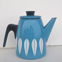 Awesome Mid Century Dark Turquoise Blue Lotus Catherineholm Enamelware Coffee Pot Teapot