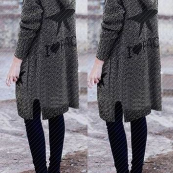 Grey Monogram Stars Print Pockets Buttons Hooded Long Sleeve Casual Fall Cardigan Sweater