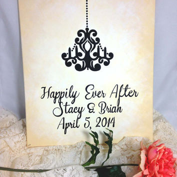 Custom Wedding Sign, Personalized Canvas, Chandelier Painting, Romantic Reception Art, Bridal Decoration, Made to Order, Unique Keepsake